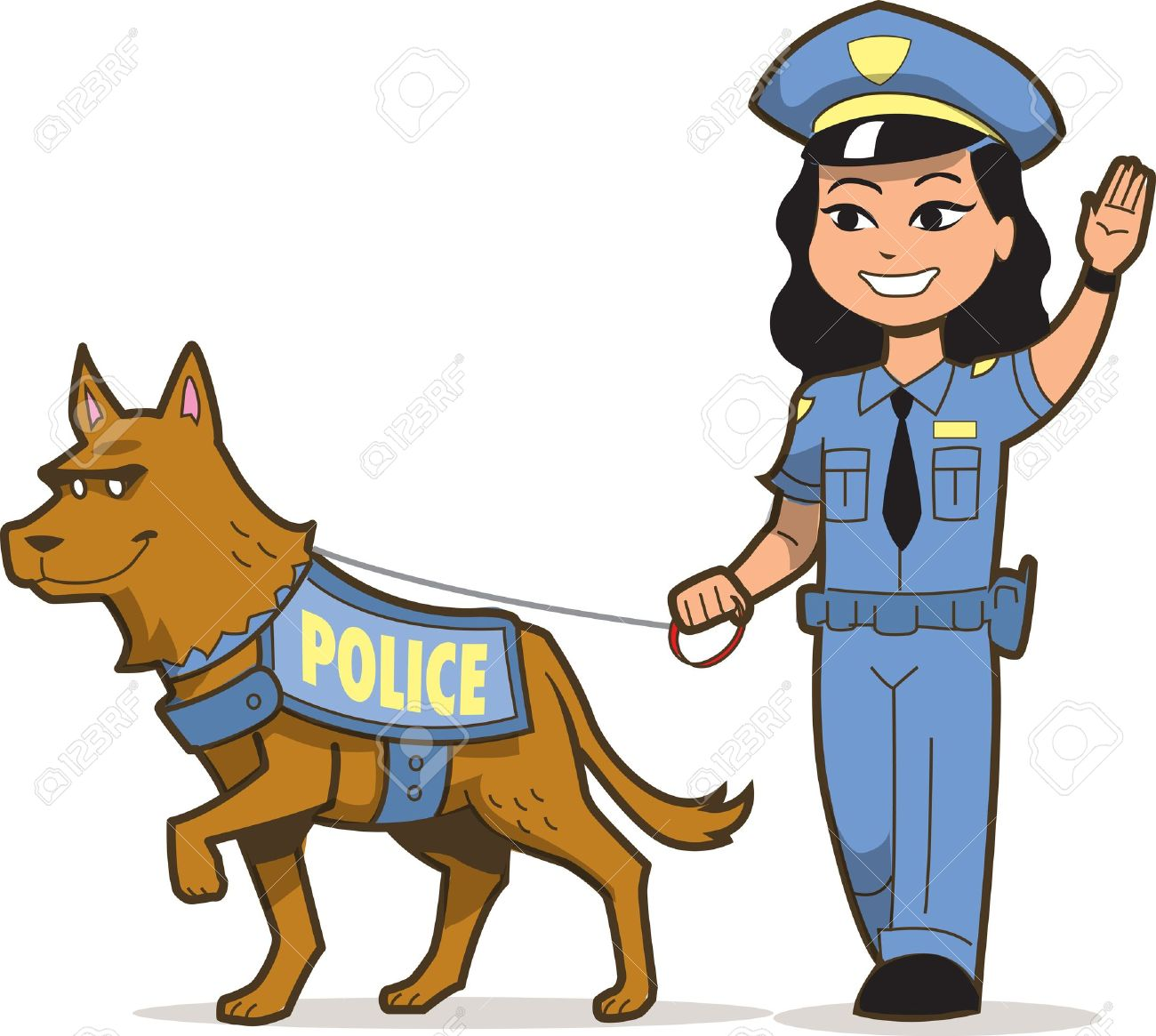 20686763 k 9 police dog and asian female police officer